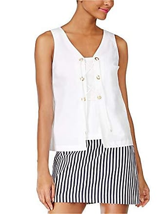 Trina Turk Womens Geary Sleeveless Lace Up Polished Shirting Top, White Wash, L