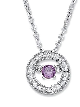 PalmBeach Jewelry 20 TCW CZ in Motion Birthstone and CZ Halo Pendant Necklace in Sterling Silver 18 - February- Simulated Amethyst