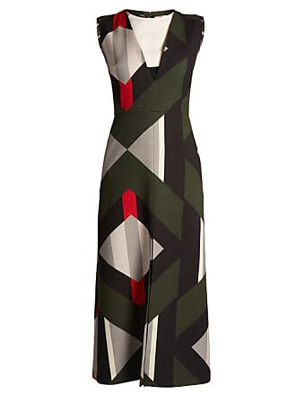 f58604ce615a Fendi Lozenges Print Cut Out Front Wool Blend Dress - Womens - Black Multi