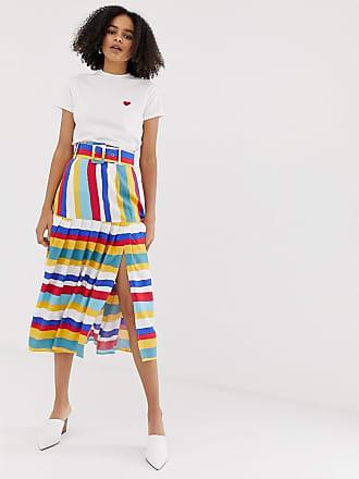 90c310096b Asos multi coloured stripe pleated midi skirt with self belt