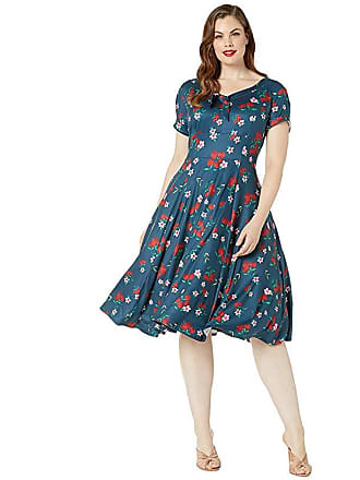 9eba6c26e7 Unique Vintage Plus Size 1940s Style Short Sleeve Natalie Swing Dress  (Navy/Cherry Floral