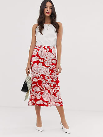 Asos floral button front midi skirt with pleat back - Multi