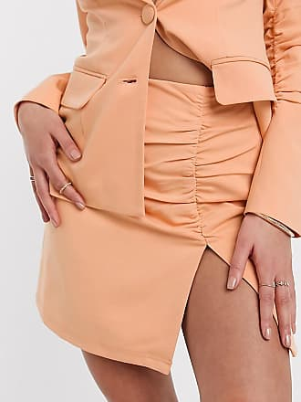 4th + Reckless Petite exclusive ruched tailored mini skirt in peach-Orange