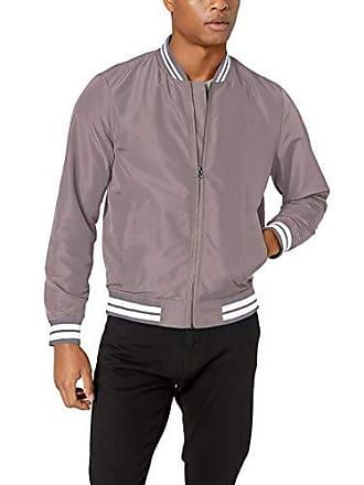 Amazon Essentials Mens Standard Lightweight Bomber Jacket, Light Gray/White, Medium