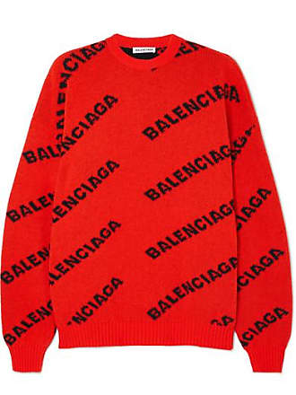 Balenciaga Oversized Intarsia Wool-blend Sweater - Orange 5a1d74ac8