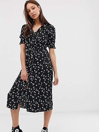888366551ea9 Influence Tall shirred sleeve floral midi dress with button down front in  black