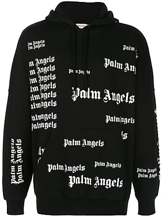Palm Angels all over logo print hoodie - Black