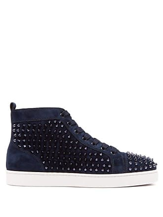 Christian Louboutin Louis Spiked Leather High Top Trainers - Mens - Blue