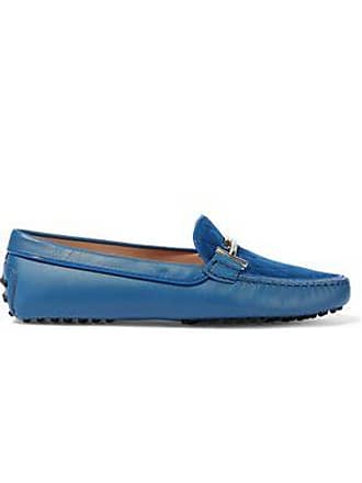 0fc3fdc6b51 Tod's Tods Woman Gommino Embellished Quilted Suede And Leather Loafers  Cobalt Blue Size 38.5