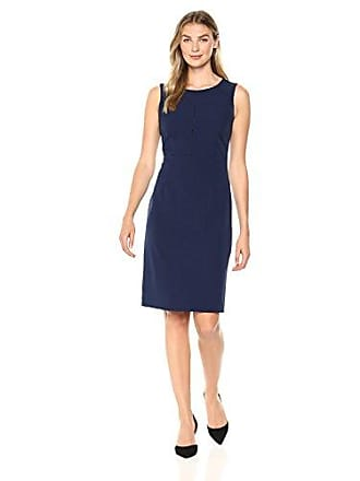 Kasper Womens Solid Stretch Crepe Sheath Dress with FAGGOTTING Trim, Indigo 10