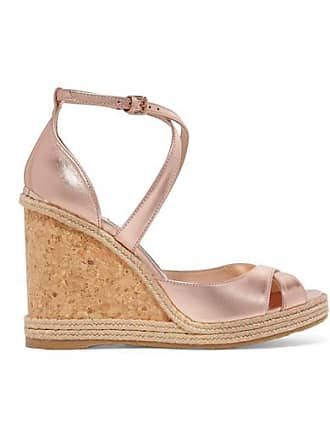 Jimmy Choo London Alanah 105 Metallic Leather Espadrille Wedge Sandals - Antique rose