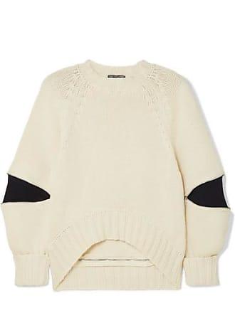 Alexander McQueen Zip-embellished Two-tone Wool Sweater - Ivory