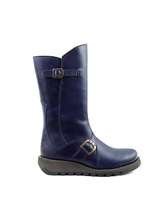 643013983dda2 FLY London Fly london Mes 2 Blue Leather Womens Mid Calf Boots-36