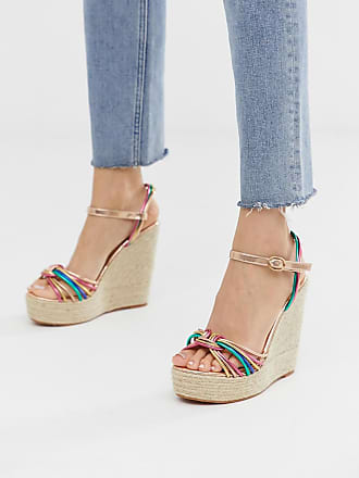 Glamorous multicoloured espadrille wedge sandals