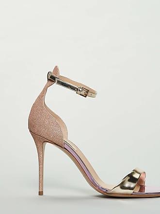 Ninalilou sandalo in pelle glitterata con dettagli oro - cipria