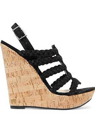 caf306452ac Schutz Schutz Woman Braided Faux Suede And Cork Wedge Sandals Black Size 6.5