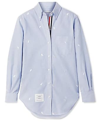 Thom Browne Embroidered Cotton-poplin Shirt - Light blue