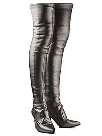 34d9af58fe11d8 Buffalo Damen Overknee Stiefel Stretch Boots Langschaft Silber o. Bronze  BB2022 (39