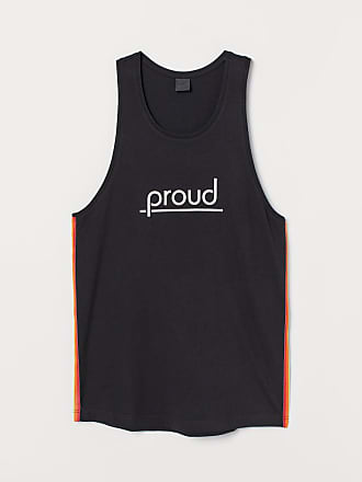 H&M Tank Top with Printed Motif - Black
