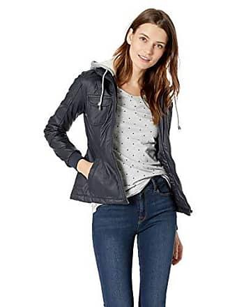 Yoki Womens Faux Leather Jacket with Fleece Hood, Navy, XL