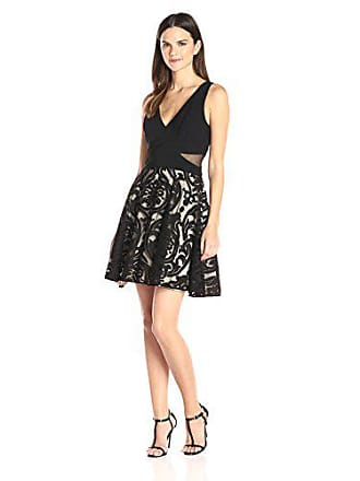 Xscape Womens Short Flocked Party Skirt W/Ity Top, Black/Stone, 10