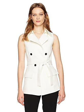 Anne Klein Womens Double Breasted Vest with Waist Belt, White 10