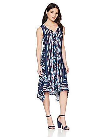f2de5561fe6c6 Oneworld Womens Petite Sleeveless Notch Neck Midi Dress Proud Wave- Navy PXL
