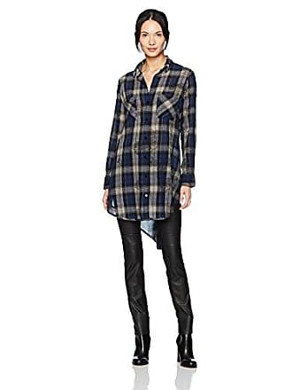 Enza Costa Womens Long Sleeve Side Slit Plaid Midi Baseball Shirt, Navy, S