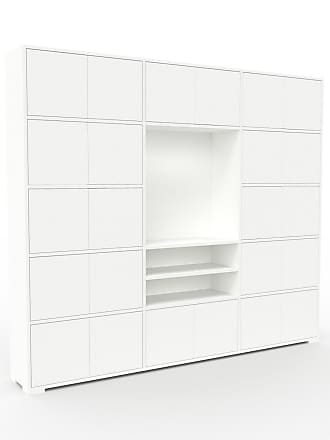 MYCS Bibliothèque murale - Blanc, modèle moderne, étagère, avec porte Blanc - 226 x 196 x 35 cm, modulable