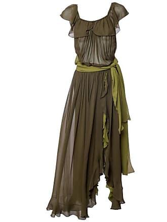 01931a317fc Saint Laurent Vintage Yves Saint Laurent Green Silk Chiffon Ruffled Goddess Evening  Gown Ysl