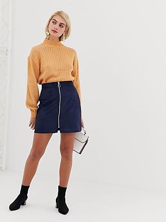 Vero Moda faux suede zip front mini skirt in navy - Navy