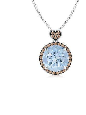 Angara Valentine Day Sale - Aquamarine Halo Pendant with Coffee Diamond Heart Motif