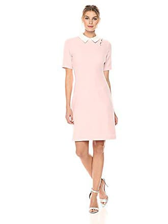 5fd79244 Ivanka Trump Womens Textured Knit Pearl Detail FIT and Flare Shirt Dress,  Blush, 4