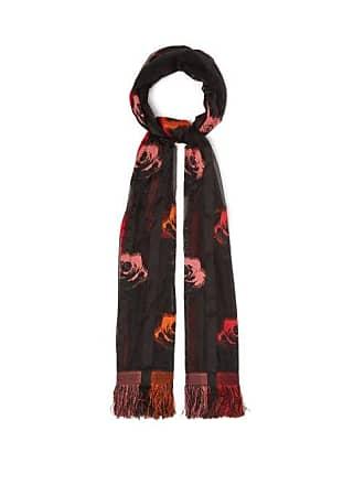 Alexander McQueen Alexander Mcqueen - Floral Silk Blend Fil Coupé Scarf - Womens - Red