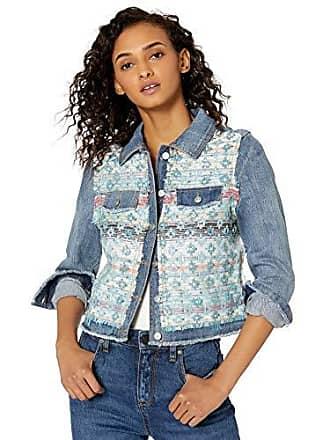 Ramy Brook Womens Murray Denim and Tweed Jacket, Blue Combo, Medium