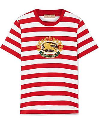 Burberry T-shirt En Jersey De Coton À Rayures Et À Appliqué - Rouge a50c3678b1a