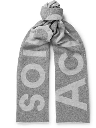 Acne Studios Toronty Oversized Logo-intarsia Wool-blend Scarf - Gray