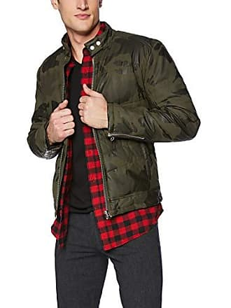 William Rast Mens Oz Moto Puffer Jacket, Ivy Olive camo Print, Large
