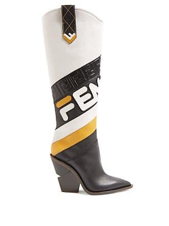 1080c41c4bb Fendi Mania Leather Knee High Boots - Womens - Black Multi