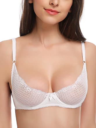 Wingslove Womens Sexy 1/2 Cup Lace Bra Soft Mesh Underwired Demi Bra Unlined See Through Bralette (White 32DD)