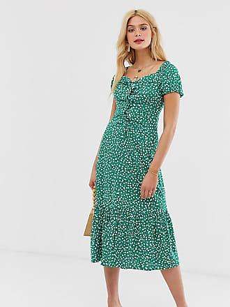 60b049974e9f Asos Tall ASOS DESIGN Tall off shoulder midi dress with pephem in ditsy  floral print