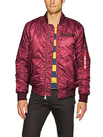 WT02 Mens Ma-1 Padded Flight Bomber Jacket in Solid and Camo Colors, Burgundy, X-Large