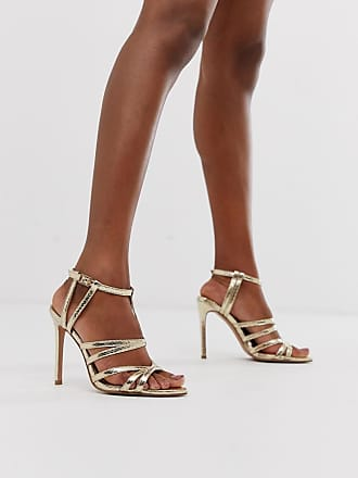 62e4653bff22 Asos High Maintenance strappy pointed heeled sandals in gold snake - Gold