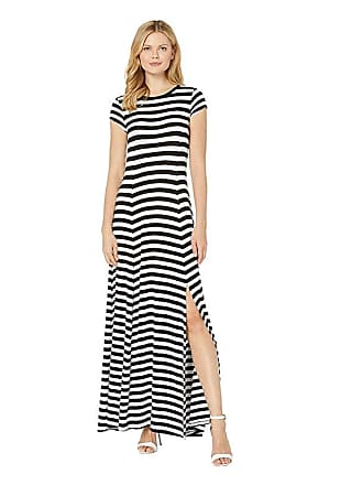 bb5672a8c6 Michael Kors Stripe Slit Maxi Dress (Black/White) Womens Dress