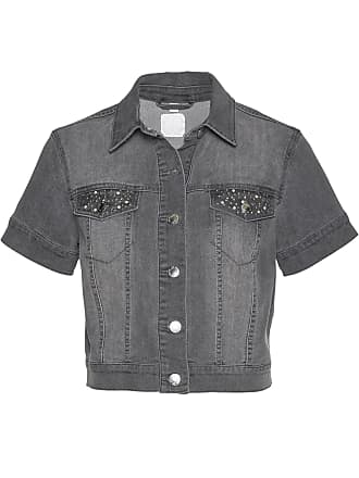 Bonprix Dam Jeansbolero med Swarovski-kristaller i grå kort ärm - bpc  selection premium 67fef23cbbe4d