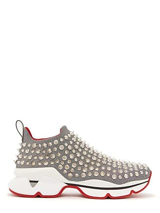 Christian Louboutin Spiky Sock Spike Embellished Neoprene Trainers - Womens - Silver