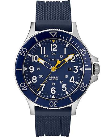 Timex Watch Mens Allied Coastline 43MM Silicone Strap Silver-Tone/Blue Item Tw2R60700Vq