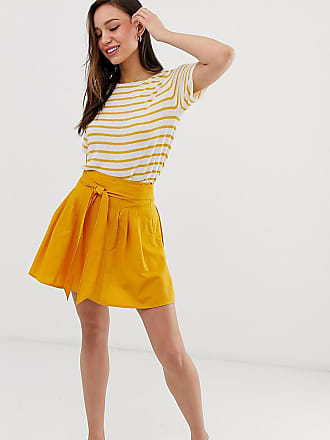 740f877ae407 Asos Tall ASOS DESIGN Tall tie front mini skirt in cotton - Yellow