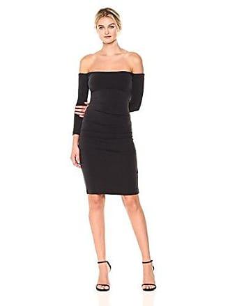 Nicole Miller Womens Cupro Off The Shldr L/s Dress, Black, S