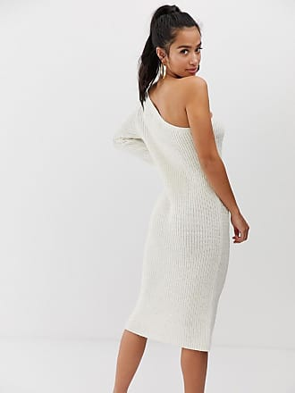 1c0b2c1fddf4 Asos Petite ASOS DESIGN Petite one shoulder knitted midi dress - Stone